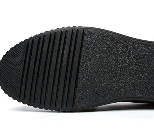WZG Los deportes de otoño nuevos hombres para ayudar a los zapatos bajos de los zapatos planos de los hombres británicos de la moda con cordones Black