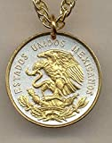 """Gorgeous 2-Toned """"Gold on Silver"""" Mexican """"Eagle"""", Quarter size Coin Necklaces"""