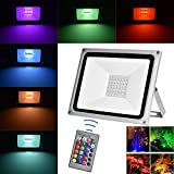 100W RGB LED Floodlights, Viugreum Outdoor Dimmable Colour Changing LED Security Light with Remote Control, 16 Colours & 4 Modes, Waterproof IP65, Decorative Coloured Stage Garden Landscape