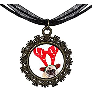 Chicforest Bronze Retro Style Wearing deer dog Round With Flower Lace Pendant
