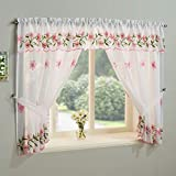 Cheap TYRONE Daisy Floral Sheer Lace Curtain Window Treatment Drape Set Pink 98″ Wide x 54″ Drop