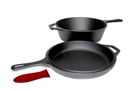 Pinnacle Cookware – Cocina de hierro fundido preestacionado, horno holandés con tapa de caldera,
