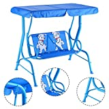 New MTN-G Kids Patio Swing Chair Children Porch Bench Canopy 2 Person Yard Furniture Blue