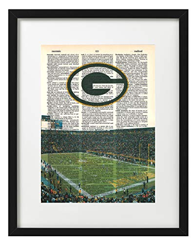 Framed Lambeau Field Green - Signature Studios Green Bay Packers photo Dictionary Art Print Lambeau Field Photo NFL Art Gift For Him
