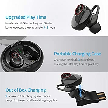 Bluetooth 5.0 Earbuds ICETEK True Wireless Headphone Stereo 3D Sound in Ear Headset Charging Case Sports Run Sweat Proof Noise Cancelling Microphone Battery 5-8 Hour Siri V5