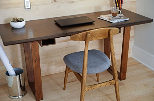 Haven Home Aiden Two-Tone Grey Walnut Finish Wood Writing Computer Desk Modern Style Simple Sleek Table for Home Office (Desk Secretary Honey)