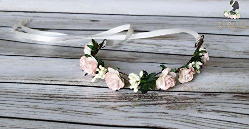 Handcrafted Blush Pink and Ivory Berry Flower Crown - Woodland Wedding - Blush Pink Bride - Rose Flower Halo - Flower Girl Crown - Boho Pink