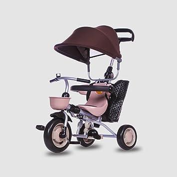 DACHUI niños triciclo plegable, 1-3 años carrito de bebé, bebé bicicleta, moto, carro del bebé (Color : Marrón): Amazon.es: Deportes y aire libre