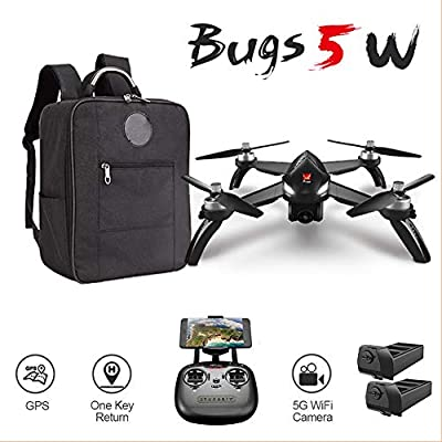 XFUNY MJX B5W Bugs 5W RC Quadcopter 1080P 5G WiFi Camera Live Video 2.4GHz Remote Control Aircraft 6-Axis Gyro FPV Drone with GPS Return Home, Altitude Hold, Follow Me, Backpack, 2 Battery (Blac from XFUNY