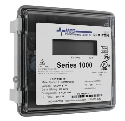 Leviton 1R240-81 Series 1000, Dual Element Meter, 120/208/240V, 2PH, 3W, 800:0.1A ratio, Max 800A, Small Outdoor Enclosure, Gray