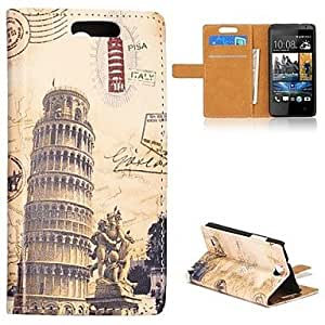 Leaning Tower of Pisa Pattern Flip Style Foldable Stand Magnetic Leather Case for HTC Desire 300