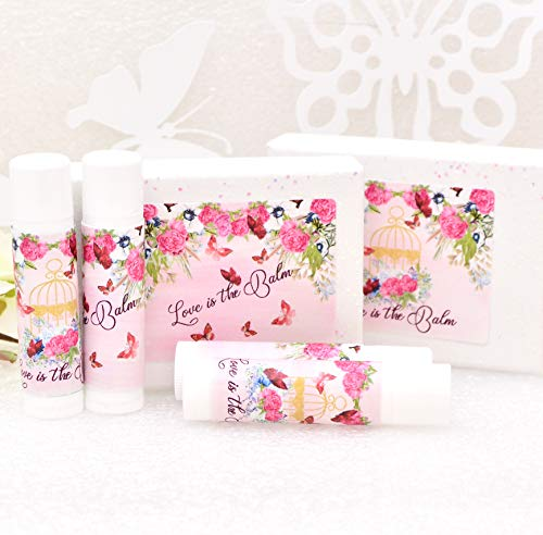 30 Fuchsia Floral Labels Lip Balm Stickers Labels Fuchsia Chapstick Labels