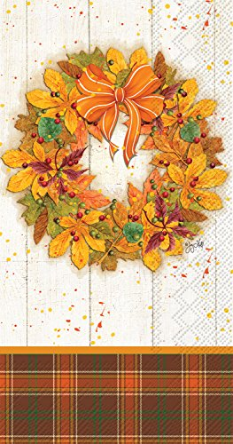 (Ideal Home Range 32 Count 3-Ply Paper Guest Towel Buffet Napkins, Fall Wreath)