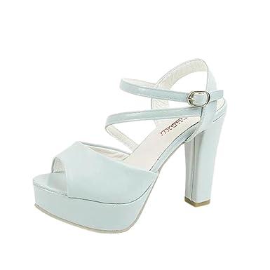 6e2cda0c0f699 Lolittas Ladies Women High Block Heel White Sandals