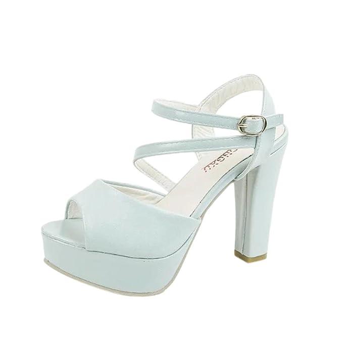 b7eb115520a Lolittas Ladies Women High Block Heel White Sandals