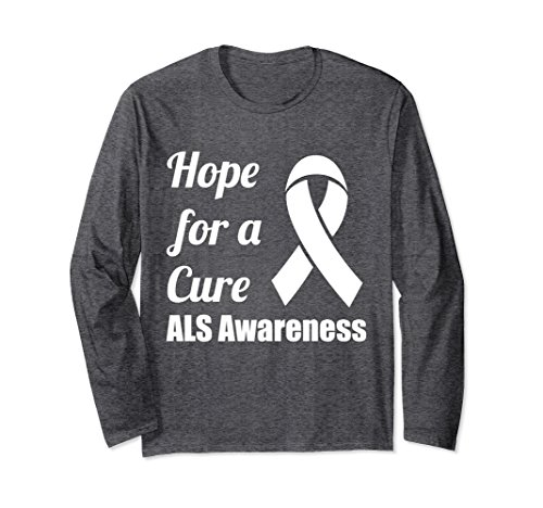 Cure Als T-shirts (Unisex Hope for a Cure ALS Awareness Ribbon Long Sleeve T-Shirt Medium Dark Heather)