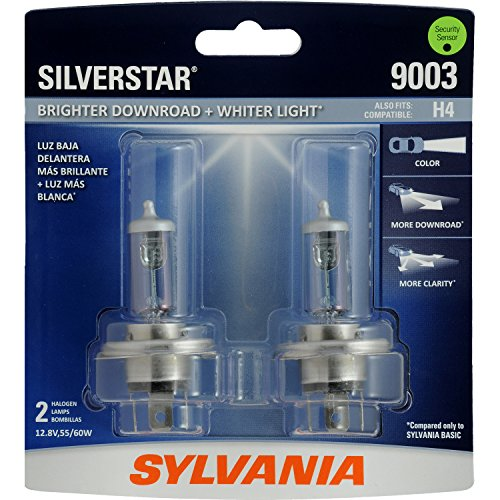 SYLVANIA - 9003 SilverStar - High Performance Halogen Headlight Bulb, High Beam, Low Beam and Fog Replacement Bulb, Brighter Downroad with Whiter Light (Contains 2 -