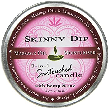 Earthly Body Round Massage Candle, Skinny Dip, 6.8 Ounces Tin