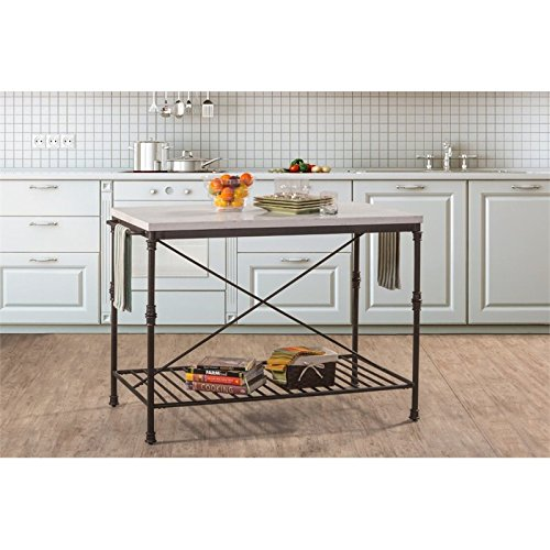 Hillsdale Furniture Kitchen Island in Textured Black and White Finish (Marble Top Kitchen Island)