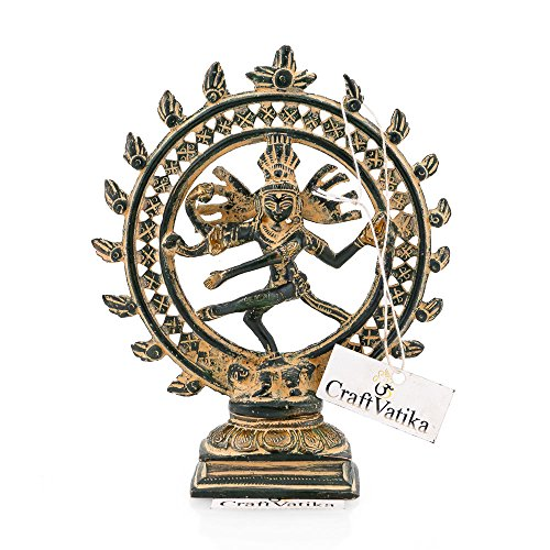 CraftVatika Brass Antique Nataraja Nataraj Statue Hindu Lord Dancing Shiva Sculpture figurine