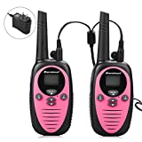 Excelvan 22 Channel FRS GMRS Dual Band 2 Way Radio Long Range Up to 3000M/1.9MI Range (MAX 3.1MI in Open Field) UHF Handheld Walkie Talkie with 1-to-4 Branch Power Adapter (2 Pack, Pink)