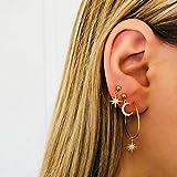 DearAnswer 4 Pcs Star Moon Diamond Studs Earrings Geometric Circle Hoop Dangle Earrings Jewelry for Woman Girls