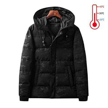 AUTRUN Camuflaje Militar para Hombre de Invierno con calefacción USB con Capucha Chaqueta de Trabajo Abrigos de Control de Temperatura Ajustable Ropa de ...