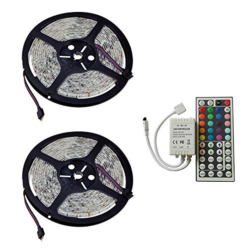FlatLED 32.8Ft 600LED Two Rolls 5050 SMD Waterproof Elastic Colorful RGB LED Light Strip Perfect For Decoration + 44 Key Remote Controller