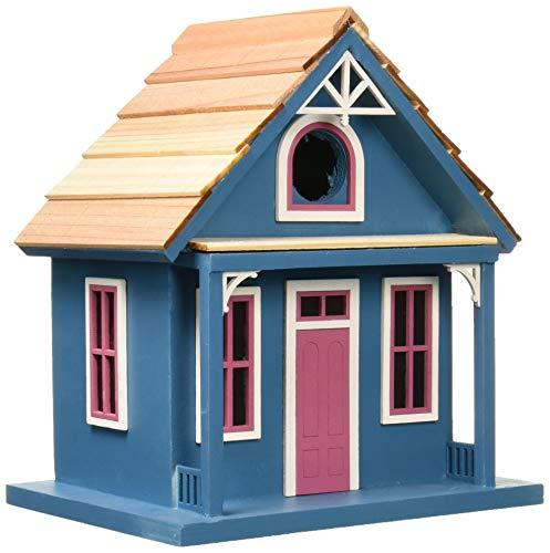 Home Bazaar- Hand-made Santa Cruz Cottage Blue Bird house - Small Bird House - Home Decor