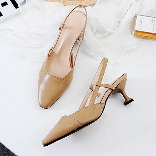 Pour Chaussures Hauts Sandales Kaki Les Élastique Chat Talons Navetteurs De Élégant Simple Zz Style À Banquet Iq7fYF4w