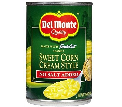 Del Monte Sweet Corn Cream Style - No Salt Added 14.75 oz. (Pack of 2) (Cream Corn Sweet Style)