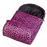 bag with hood - Stay Warm Sleeping Bag, Wildkin Children's Sleeping Bag with Attached Hood and Matching Storage Bag, Water-Resistant Microfiber, Temperature Rated at 30 Degrees Fahrenheit, Ages 5+ years, Pink Leopard