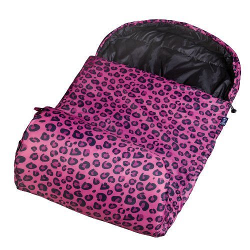ids by Wildkin Stay Warm Sleep Sack with Attached Hood and Matching Stuff Sack, Water-Resistant, Temperature Rated at 30 Degrees Fahrenheit, Ages 5-15 years – Pink Leopard (Sleeping Leopard)
