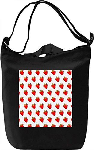 Strawberry Print Borsa Giornaliera Canvas Canvas Day Bag| 100% Premium Cotton Canvas| DTG Printing|
