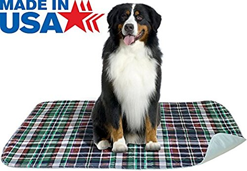 2 PACK - Plaid Waterproof Reusable / Quilted Washable Large Dog / Puppy Training Travel Pee Pads Size 24 x 36