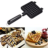 Waffle Baking Mold, Non-Stick DIY Waffle Cake Maker DIY Waffle Mould Tray With Handle for Stovetop