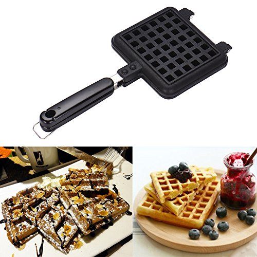 Waffle Baking Mold, Non-Stick DIY Waffle Cake Maker DIY Waffle Mould Tray With Handle for Stovetop by Fulstarshop