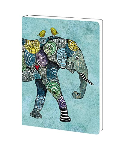 - Tree-Free Greetings Elephant and Birds Soft Cover Journal, 5.5 x 7.5 Inches, 160 Lined Pages, Gift for Animal Lovers, Blue (JR89871)