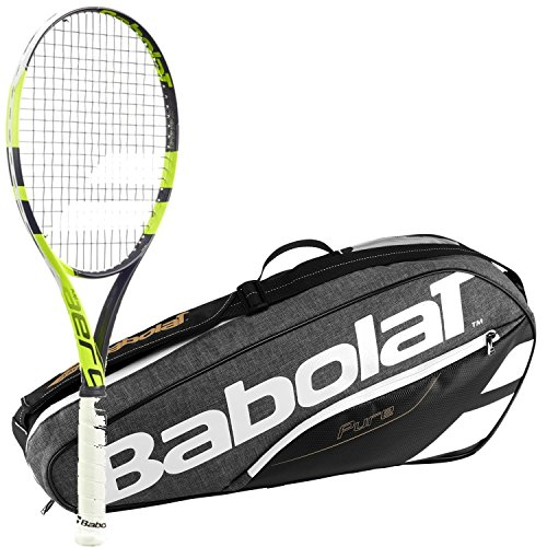 Babolat Pure Aero Lite Yellow/Black Adult Tennis Racquet (Grip Size 4 3/8) with a Grey/Black Pure Line Racket Holder x3