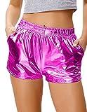 Women's Shorts Yoga Hot Shorts Shiny Metallic Pants Loose Fit Fuchia Red, Size M