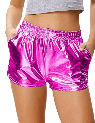 Women's Shorts Yoga Hot Shorts Shiny Metallic Pants Loose Fit Fuchia Red, Size M]()