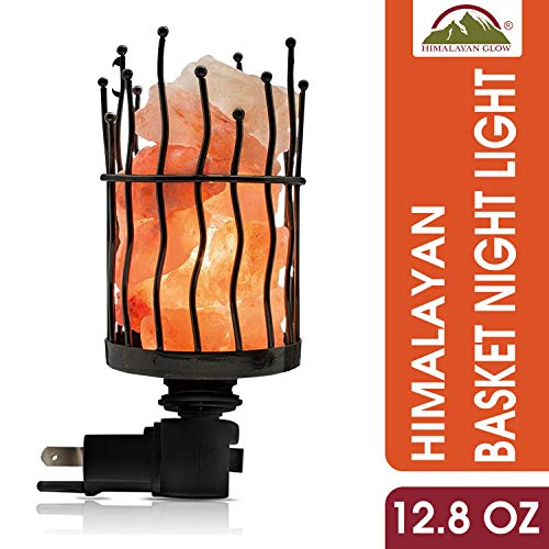 Himalayan Glow Natural Pillar Style Salt Lamp Night Light with Pink Salt Chunks | 360 Degree Rotatable Wall Plug,Nightlight Unique Lighting Ambiance