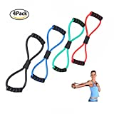 Darhoo 8 Shape Elastic Latex Pull Tube Home Fitness Arm Chest Strength Training Sponge Handle for Upper Lower Body Exercise Package of 4