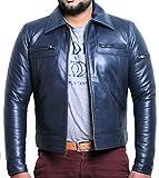 Laverapelle Men's Genuine Lambskin Leather Jacket (Navy Blue, 4XL, Cotton Lining) - 1501200