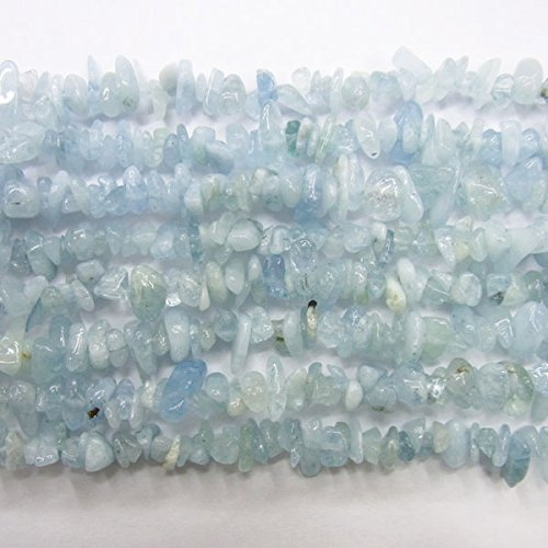 """TheTasteJewelry A Grade Aquamarine Chips 5-8mm Beads 34""""L Jewelry Making Necklace Healing Power"""