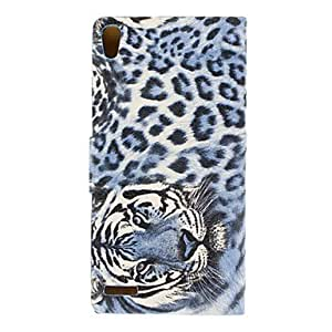 Tiger Head Full Body Case with Stand for HuaWei Ascend P6 (Optional Colors) --- COLOR:Purple
