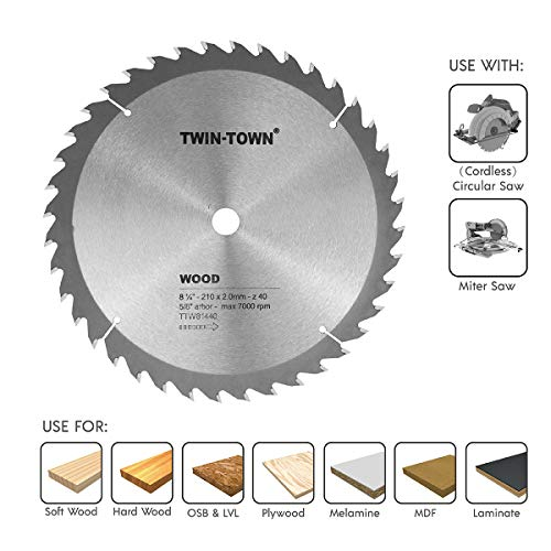 TWIN-TOWN 8-1/4-Inch Saw Blade, 40 Teeth,General Purpose for Soft Wood, Hard Wood, Chipboard & Plywood, 5/8-Inch DMK Arbor ()
