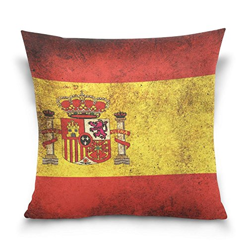 SUABO Grunge Spain Flag Pattern Cotton Velvet Decorative Throw Pillow Case Cushion Cover 20 X 20 inch by SUABO