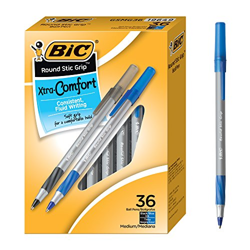 BIC Round Stic Grip 36 Count