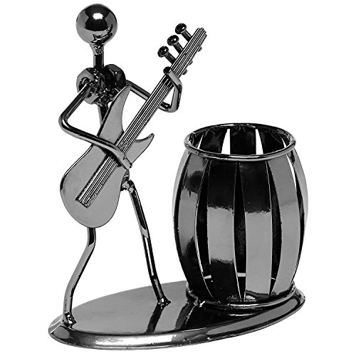 Gun Metal Gray Pencil & Pen Holder Display - Guitar Theme Desktop Supply Organizer (Home Unique Accessories & Gifts)